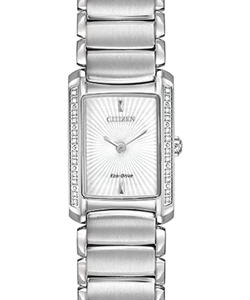 Citizen Ladies Stainless Stell Bracelet White Rectangle Dial 24 Round Diamond Eco Drive Watch