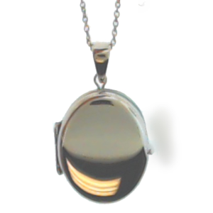 Sterling Silver Large Polished Oval 4 Photo Locket Pendant with Chain