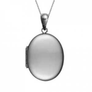 Sterling Silver Plain Oval Locket Pendant with Cable Chain